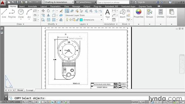 Using the Annotative property to size dimensions: AutoCAD 2014 Essentials: 06 Sharing Drawings with Others