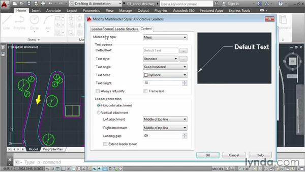 Using the Annotative property to size multileaders: AutoCAD 2014 Essentials: 06 Sharing Drawings with Others