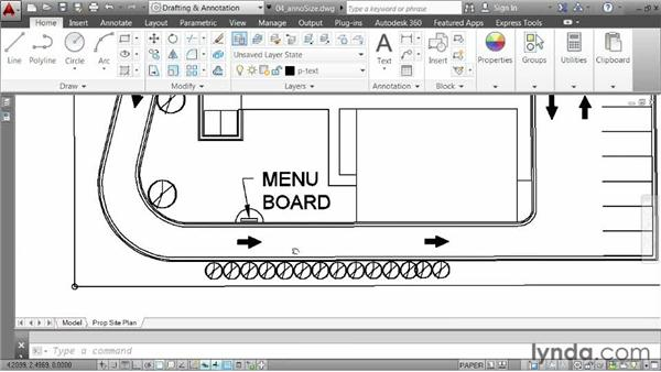 Changing the scale assigned to annotations: AutoCAD 2014 Essentials: 06 Sharing Drawings with Others