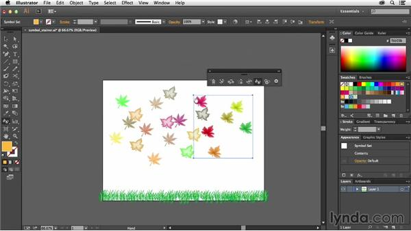 Changing colors of symbols in a set: Using Symbols in Illustrator