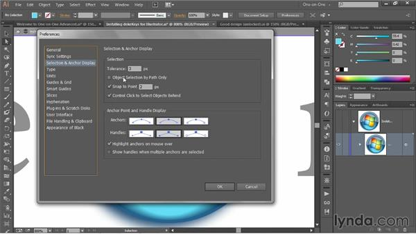Adjusting a few key Preferences settings: Illustrator CC 2013 One-on-One: Advanced