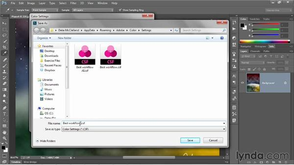 Creating color settings in Photoshop: Illustrator CC 2013 One-on-One: Advanced