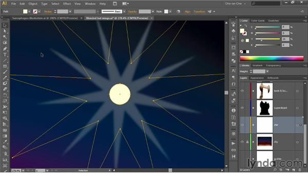 Blending different levels of opacity: Illustrator CC 2013 One-on-One: Advanced