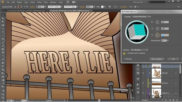 Rotating objects in 3D space: Illustrator CC 2013 One-on-One: Advanced