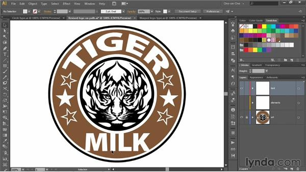 Warping logo type around a circle: Illustrator CC 2013 One-on-One: Advanced