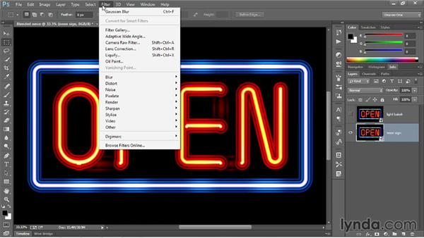 Adding neon blur and bokeh in Photoshop: Illustrator CC 2013 One-on-One: Advanced