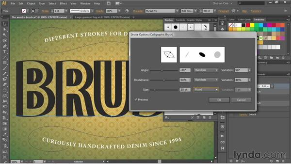 Applying and editing a calligraphic brush: Illustrator CC 2013 One-on-One: Advanced