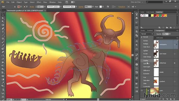 Creating translucency with the Opacity value: Illustrator CC 2013 One-on-One: Advanced