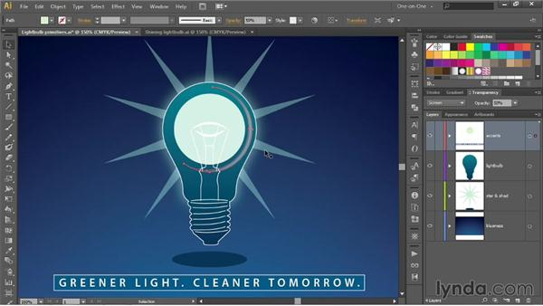 Combining blend modes with dynamic effects: Illustrator CC 2013 One-on-One: Advanced