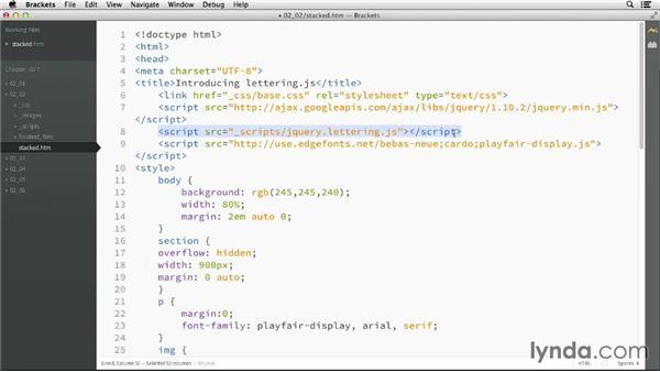 Enabling Lettering.js: CSS: Advanced Typographic Techniques