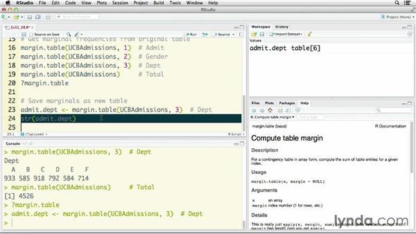 Converting tabular data to row data: R Statistics Essential Training
