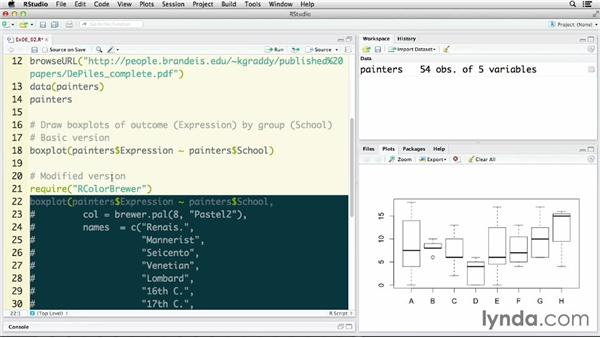 Creating grouped box plots: R Statistics Essential Training