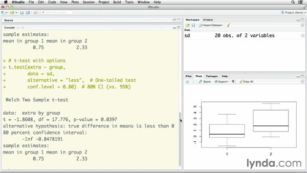 Comparing means with the t-test: R Statistics Essential Training