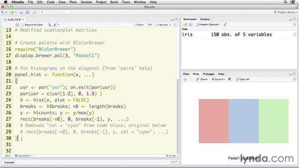 Creating scatter plot matrices: R Statistics Essential Training