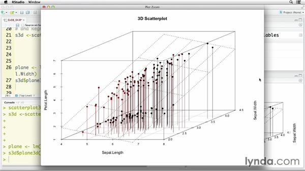 Creating 3D scatter plots: R Statistics Essential Training