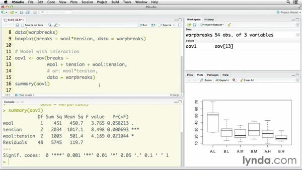 Comparing means with a two-factor ANOVA: R Statistics Essential Training
