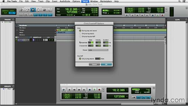 Creating a click track: Pro Tools 11 Essential Training