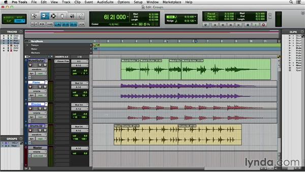 Creating a group: Pro Tools 11 Essential Training
