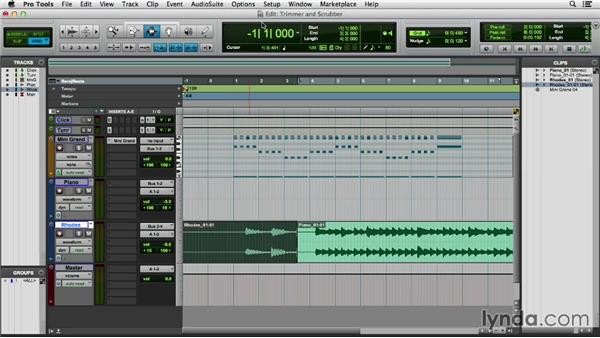 Understanding the Trim and Scrubber tools: Pro Tools 11 Essential Training