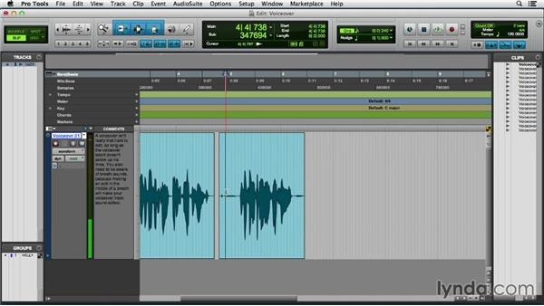 Editing a voiceover: Pro Tools 11 Essential Training