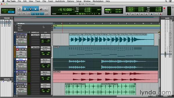 Working with clip groups: Pro Tools 11 Essential Training