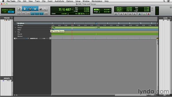 Applying time, tempo, meter, key, and chord: Pro Tools 11 Essential Training