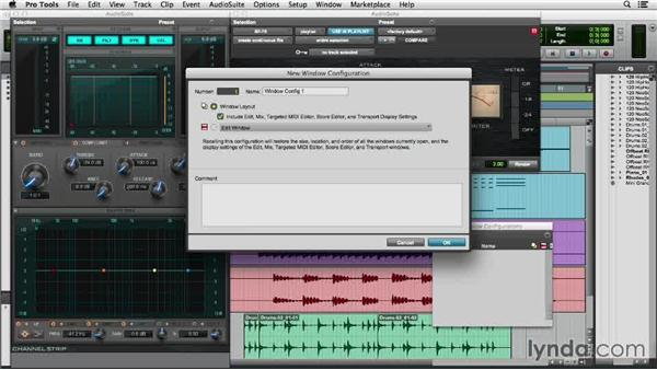 Saving and recalling window configurations: Pro Tools 11 Essential Training