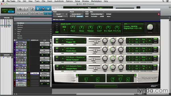 Recording multiple MIDI tracks with a shared virtual instrument: Pro Tools 11 Essential Training