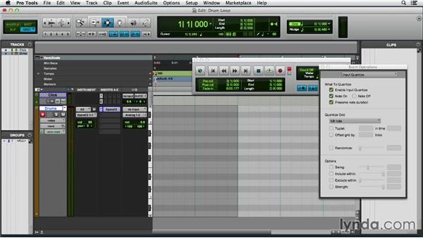 Building a drum loop with MIDI Merge: Pro Tools 11 Essential Training