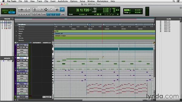 Editing MIDI data with the edit tools: Pro Tools 11 Essential Training