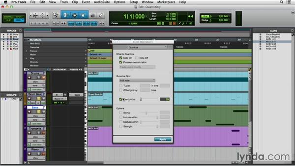 Quantizing MIDI tracks: Pro Tools 11 Essential Training