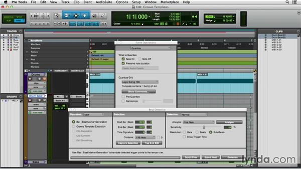Using groove templates: Pro Tools 11 Essential Training