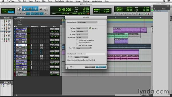 Bouncing to disk: Pro Tools 11 Essential Training