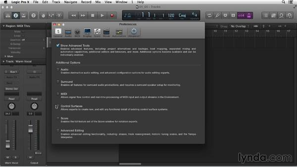 Getting to know Logic preferences: Logic Pro X Essential Training
