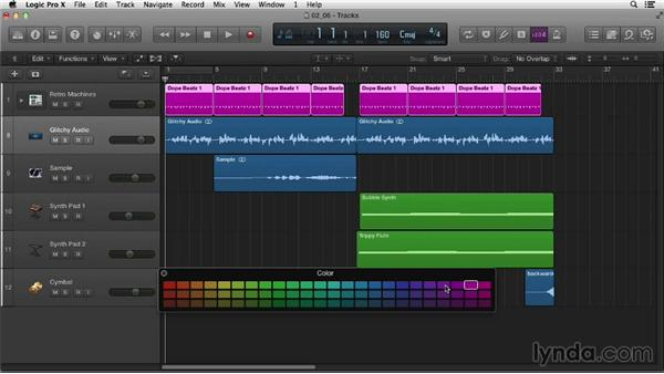 Naming tracks and regions: Logic Pro X Essential Training