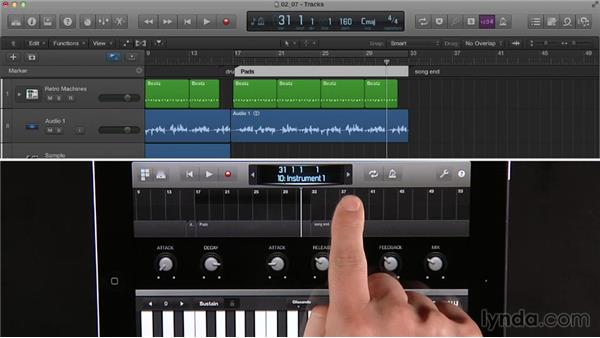 Controlling Logic playback with the Logic Remote iPad app: Logic Pro X Essential Training