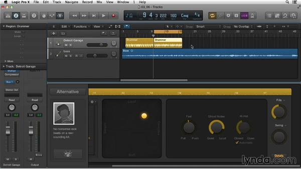 Diving deeper into how Drummer tracks can be customized: Logic Pro X Essential Training