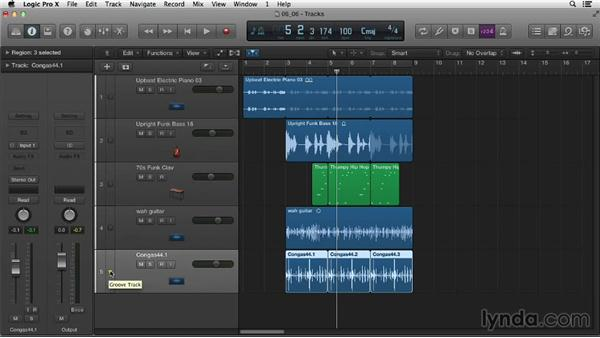 Working with the groove track: Logic Pro X Essential Training
