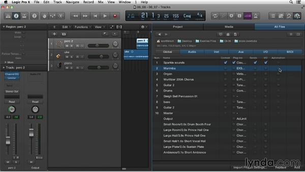 Importing elements from one project to another: Logic Pro X Essential Training