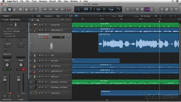 Punching in and loop recording with audio: Logic Pro X Essential Training