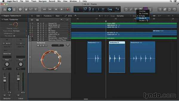 Exploring drag modes with audio regions: Logic Pro X Essential Training