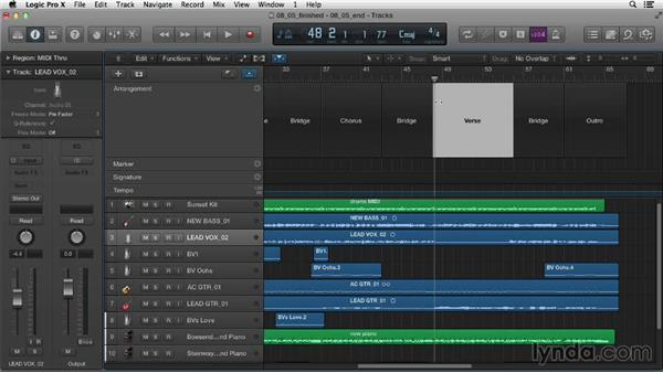 Arranging projects with Arrangement Track: Logic Pro X Essential Training