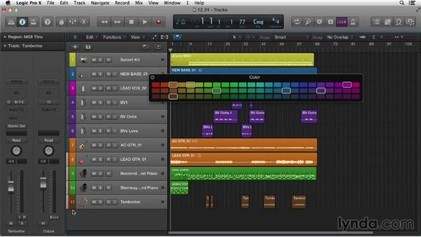 Setting up for the mix: Logic Pro X Essential Training