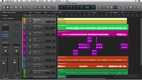 Working with submixes and Track Stacks: Logic Pro X Essential Training
