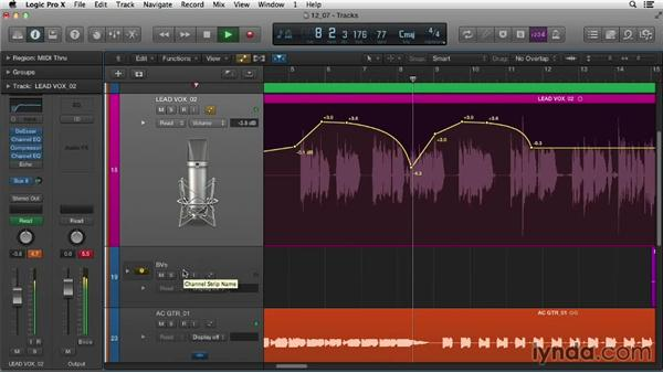 Giving your mix life and movement with automation: Logic Pro X Essential Training