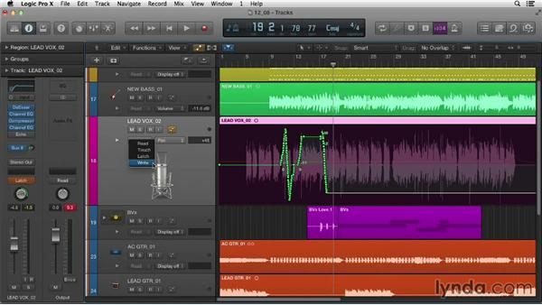 Recording automation in real time: Logic Pro X Essential Training