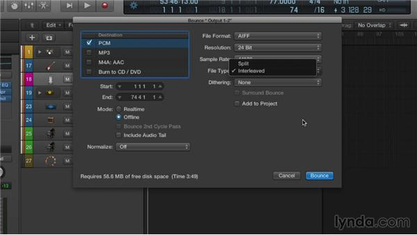 Bouncing down your mix: Logic Pro X Essential Training