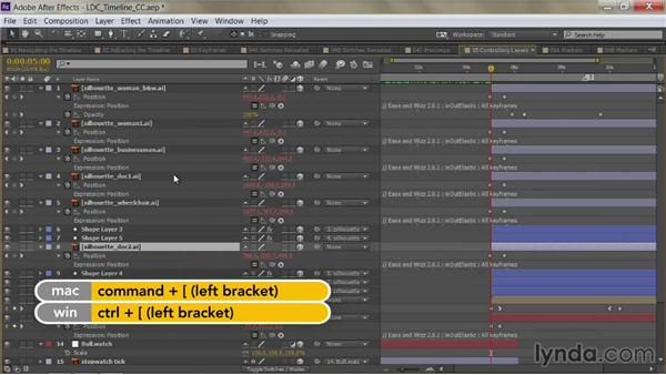Move up and down in the stack: After Effects Guru: Mastering the Timeline