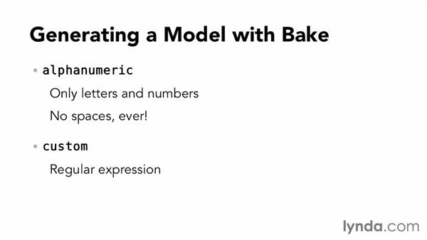 Generating a model with Bake: Up and Running with CakePHP
