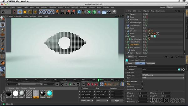 Applying materials to matrices: Mograph Techniques: Morphing Particles in CINEMA 4D